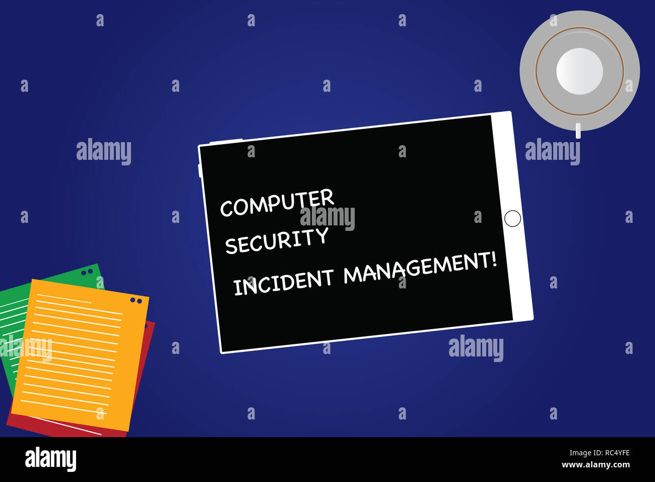 Handwriting text Computer Security Incident Management. Concept meaning Safe cyber technology analysisaging Tablet Empty Screen Cup Saucer and Filler  Stock Photo