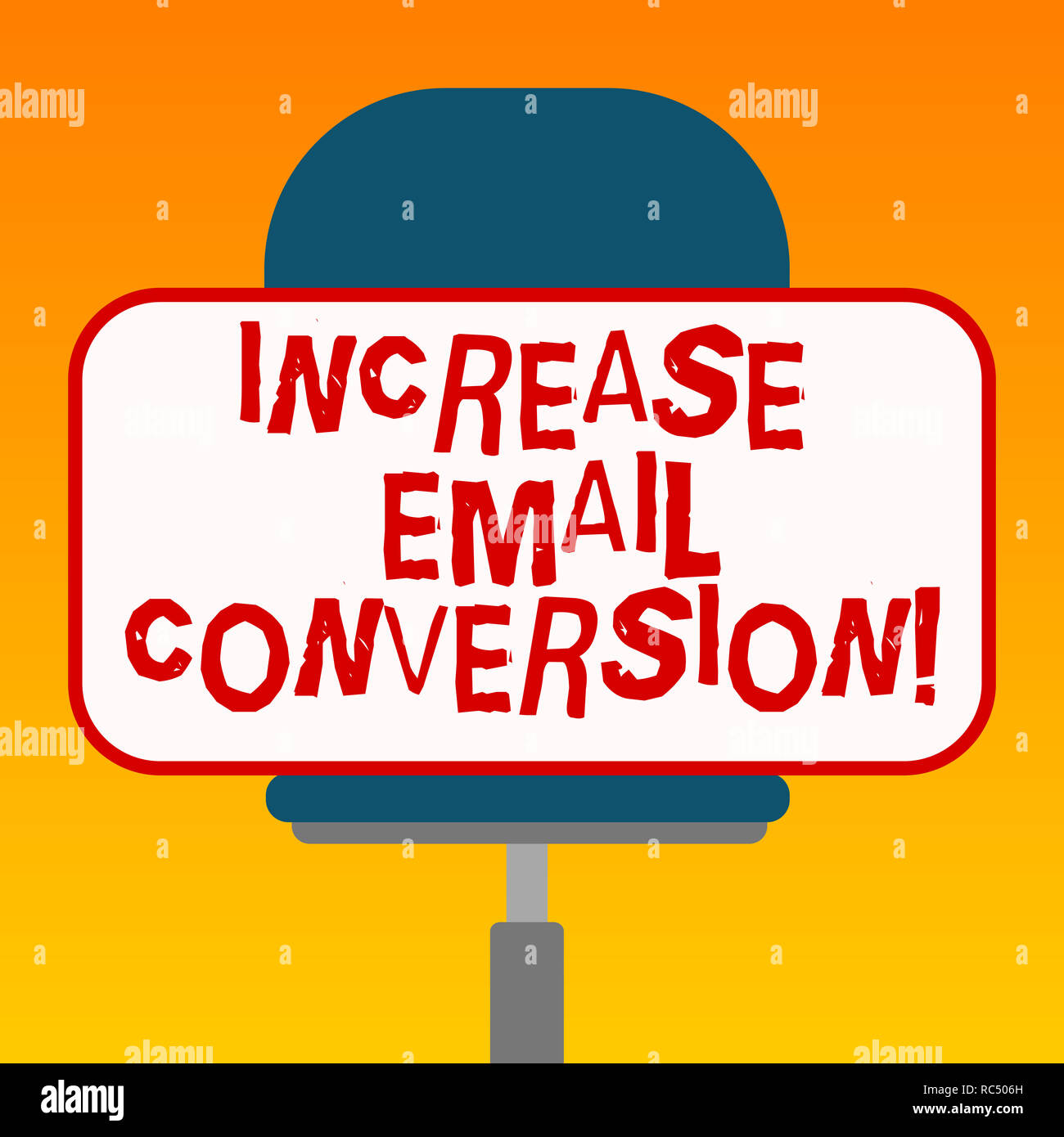 Handwriting text Increase Email Conversion. Concept meaning Action taking place on your landing page Blank Rectangular Shape Sticker Sitting Horizonta Stock Photo
