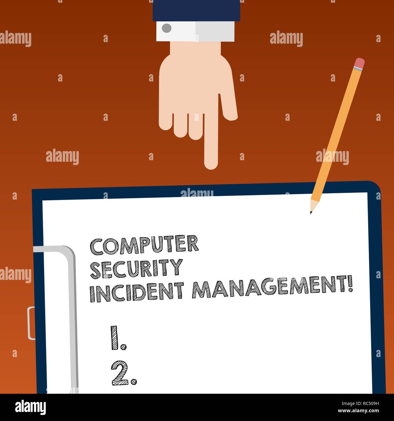 Writing note showing Computer Security Incident Management. Business photo showcasing Safe cyber technology analysisaging Hu analysis Hand Pointing Do - Stock Image
