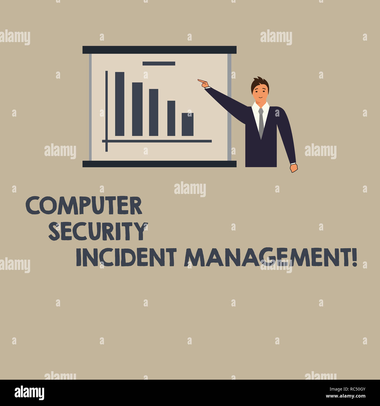 Writing note showing Computer Security Incident Management. Business photo showcasing Safe cyber technology analysisaging Man in Business Suit Pointin - Stock Image