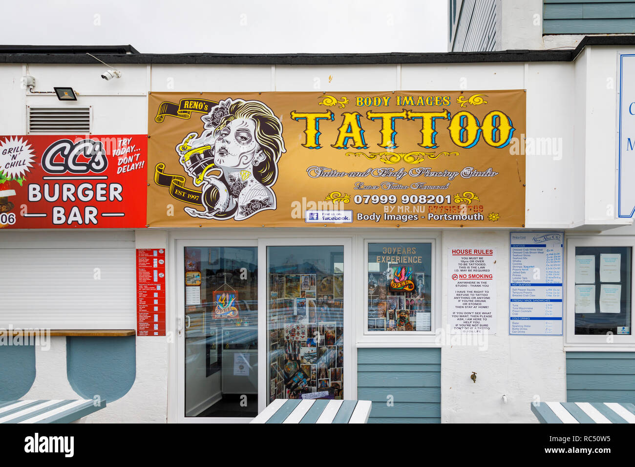 Body Images tattoo and body piercing studio for body art on South Parade Pier, Southsea, Portsmouth, south coast England, UK - Stock Image