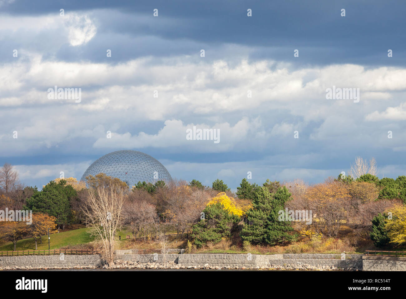 MONTREAL, CANADA - NOVEMBER 7, 2018: Montreal Biosphere, on Ile Sainte Helene Island, in Jean Drapeau park, taken during an autumn afternoon. It is on Stock Photo
