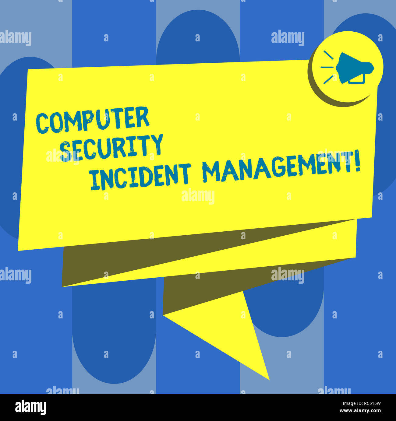 Handwriting text Computer Security Incident Management. Concept meaning Safe cyber technology analysisaging Folded 3D Ribbon Sash Megaphone Speech Bub - Stock Image