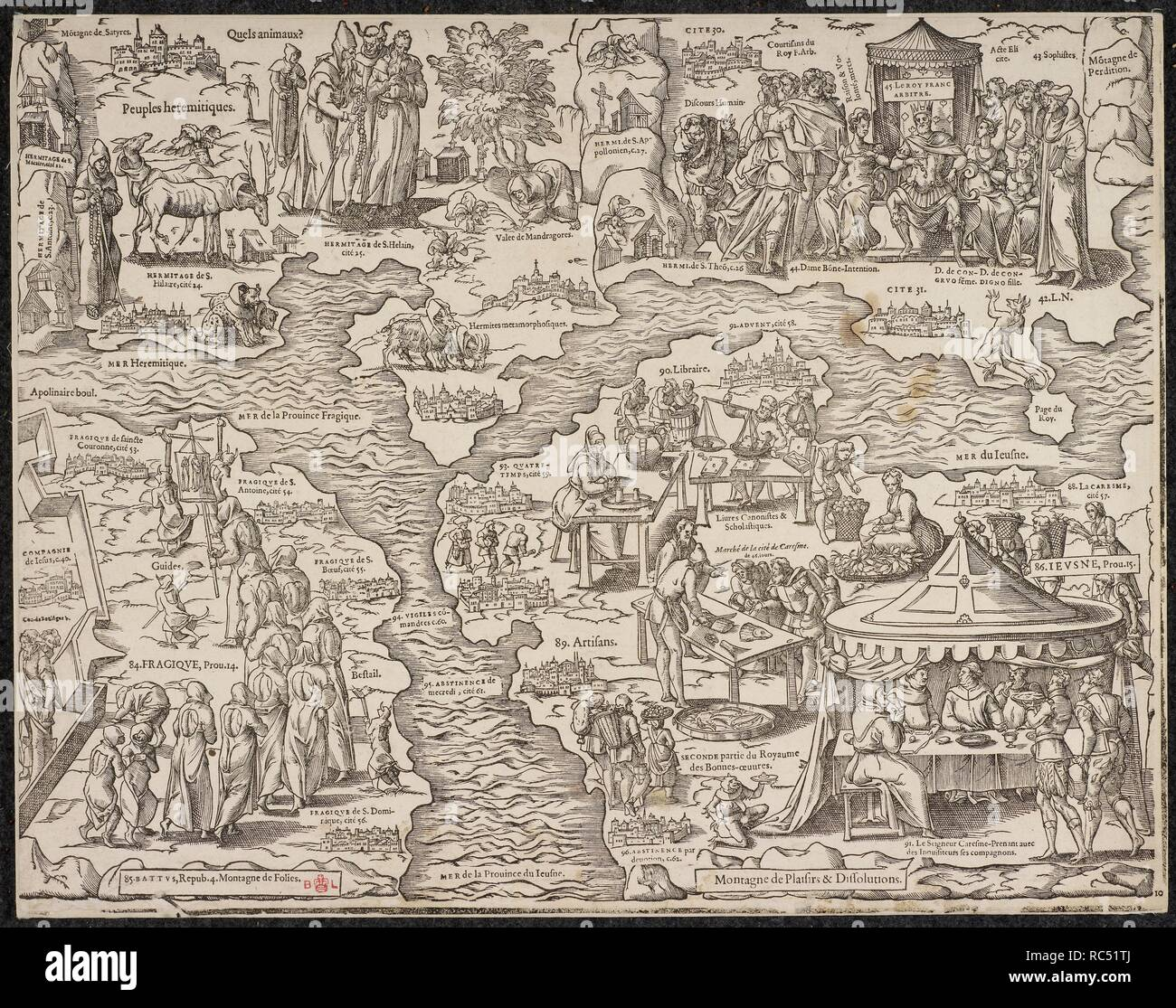 Allegorical map, a satire on the Roman Catholic church from the 16th century. . Mappemonde nouvelle papistique. [Geneva], [1566?]. Mappemonde nouvelle papistique. A satire on the Roman Catholic Church by T. de Beza or P. Viret? in the form of an allegorical map, with letterpress on three sides. Bèze, Théodore de, 1519-1605. Viret, Pierre, 1511-1571. Source: C.160.c.7 10. Language: French. Stock Photo