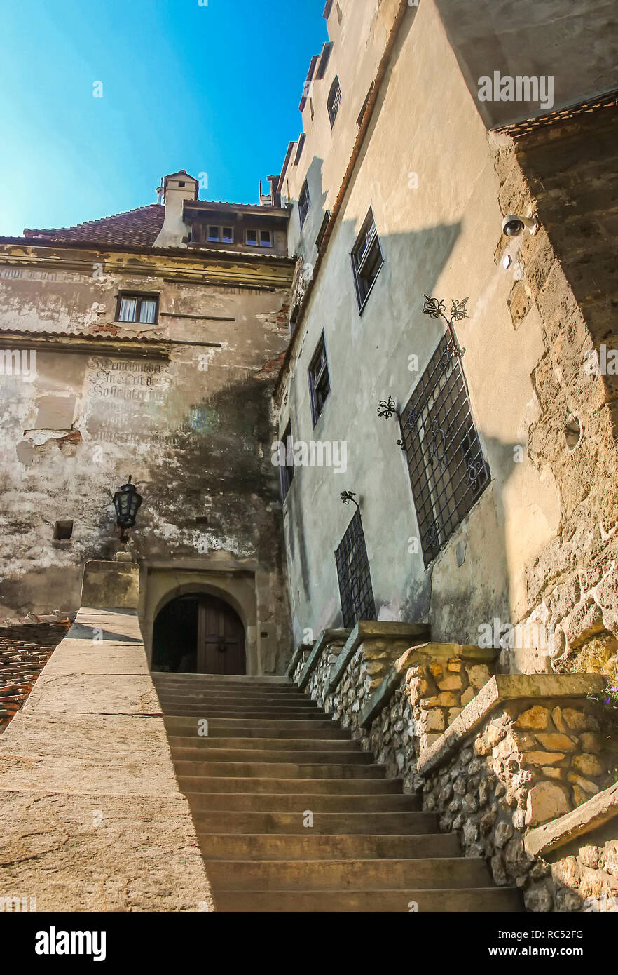 Main stairway at Bran Castle Stock Photo