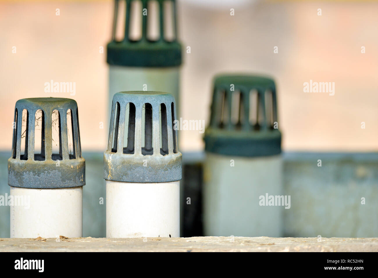 Gas outlet for drain pipe Stock Photo