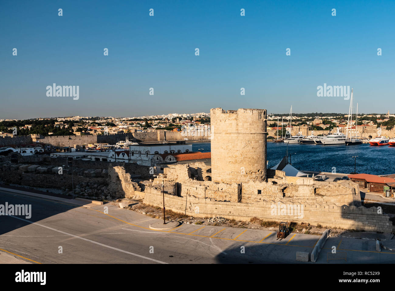 The Tower of Ange (also known as the Tower of Angles) was a minor fortress at the entrace of Kolona Harbor, Rhodes. It is located on southern side of  - Stock Image