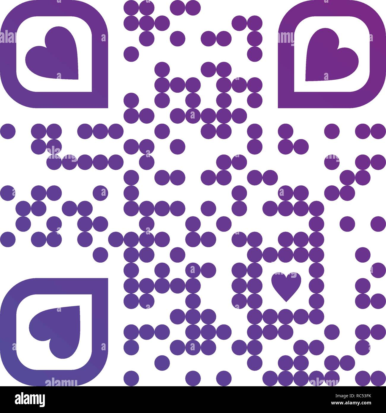 Vector illustration of I LOVE YOU QR code in purple color