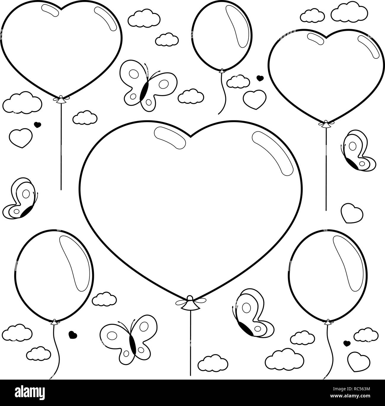 Heart shaped balloons and butterflies flying in the sky ...