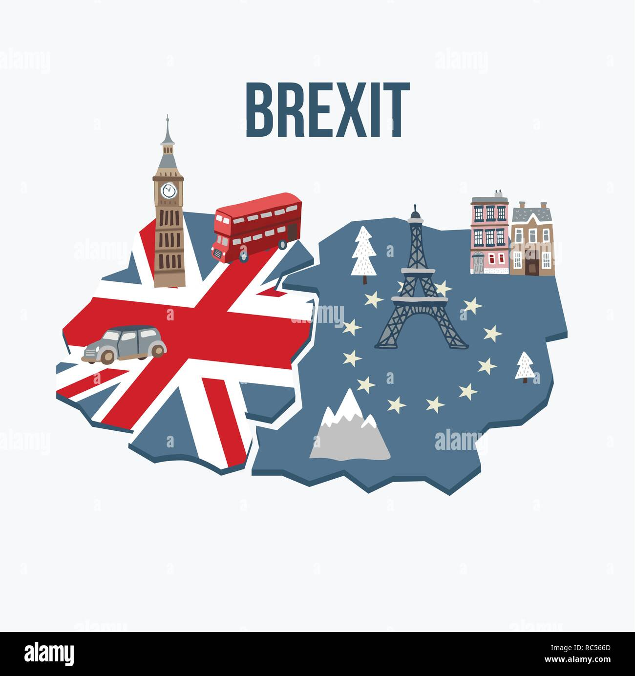 Brexit concept. Flags of the United Kingdom and the European Union on cracked map background. Possible exit of Great Britain from the EU. Symbols of London and continental Europe. Vector illustration. - Stock Image
