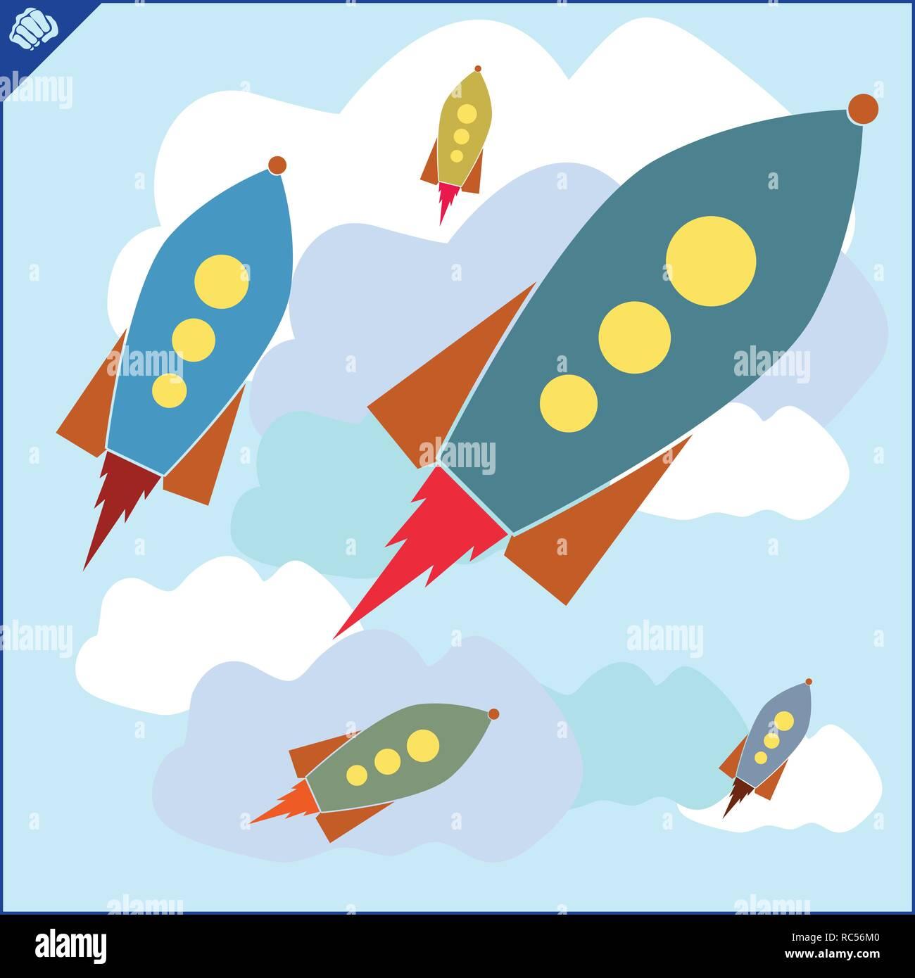 Colored art cartoon rocket jet in cloud sky - Stock Vector