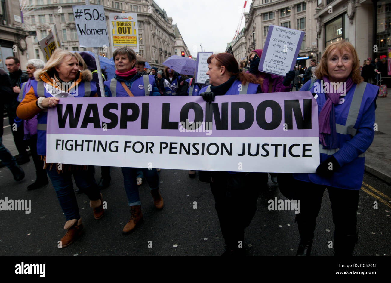 Demonstration  by People's Assembly against Austerity calling for a General Election. Members of WASPI (Women Against State Pension Inequality) take p - Stock Image
