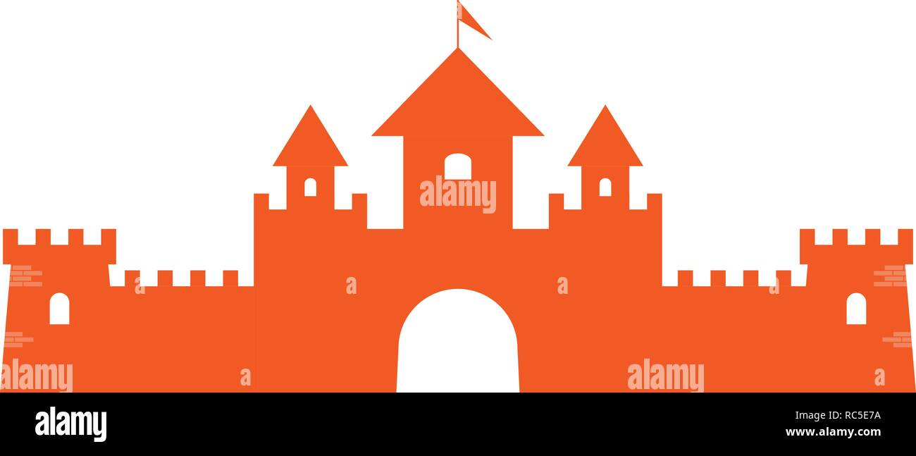 Authentic Castle tower symbol for logo or icon design. Vector illustration. - Stock Vector