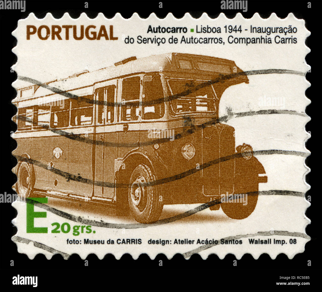 Postage stamp from Portugal in the Historical Urban Public Transport series issued in 2008 - Stock Image