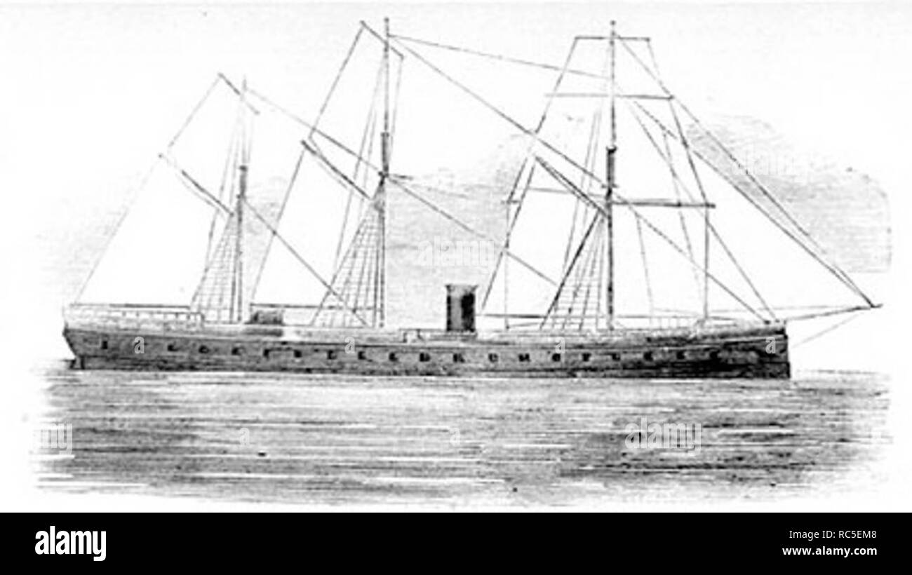 The ironclad frigate French battleship La Gloire was in the English Channel, near Cherbourg, during the battle between Alabama and Kearsarge - Stock Image