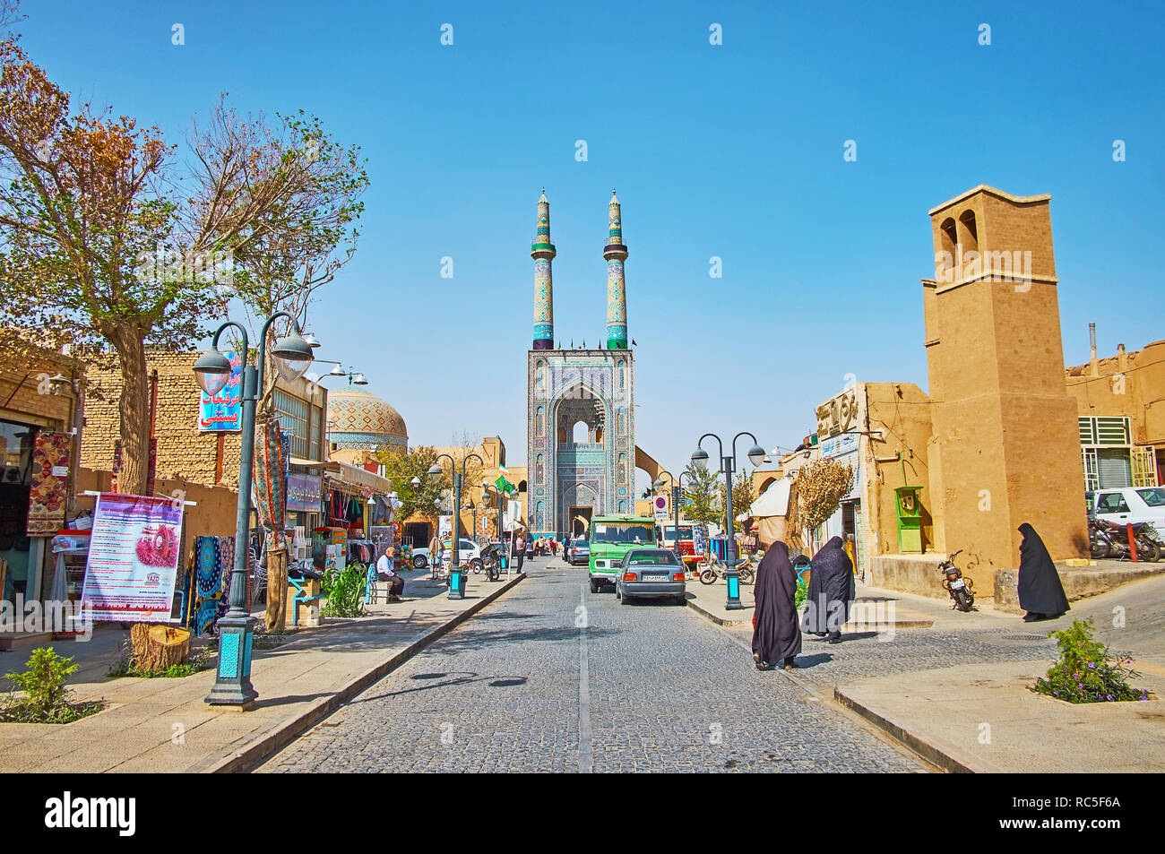 YAZD, IRAN - OCTOBER 18, 2017:  Masjid Jame is one of the main tourist streets, leading to the notable city landmark - the Friday Mosque, on October 1 Stock Photo