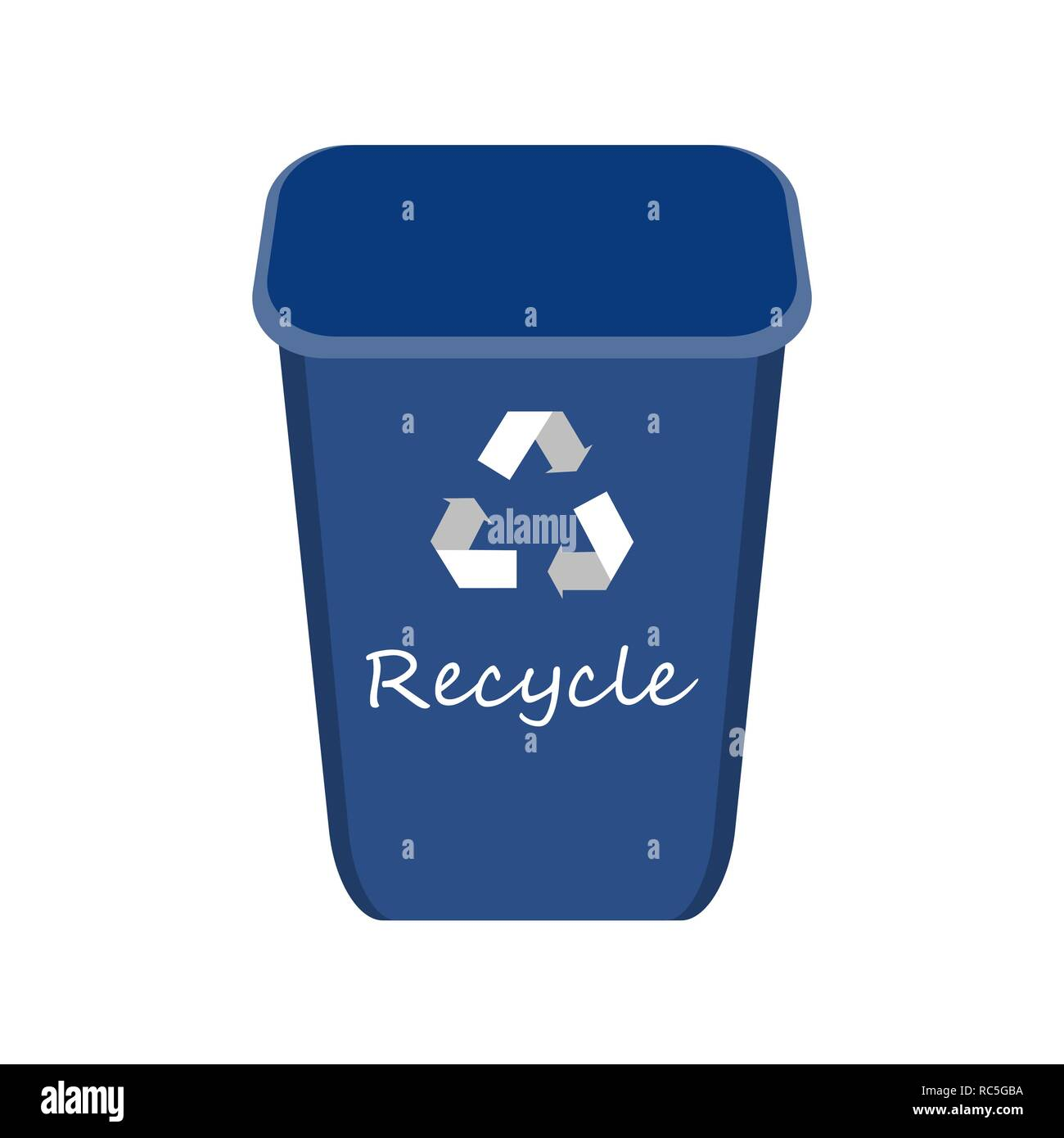 Blue Recycle Bin with Examples for the Separation and Utilize of Garbage. Saving Of The Environment Vector illustration. - Stock Image