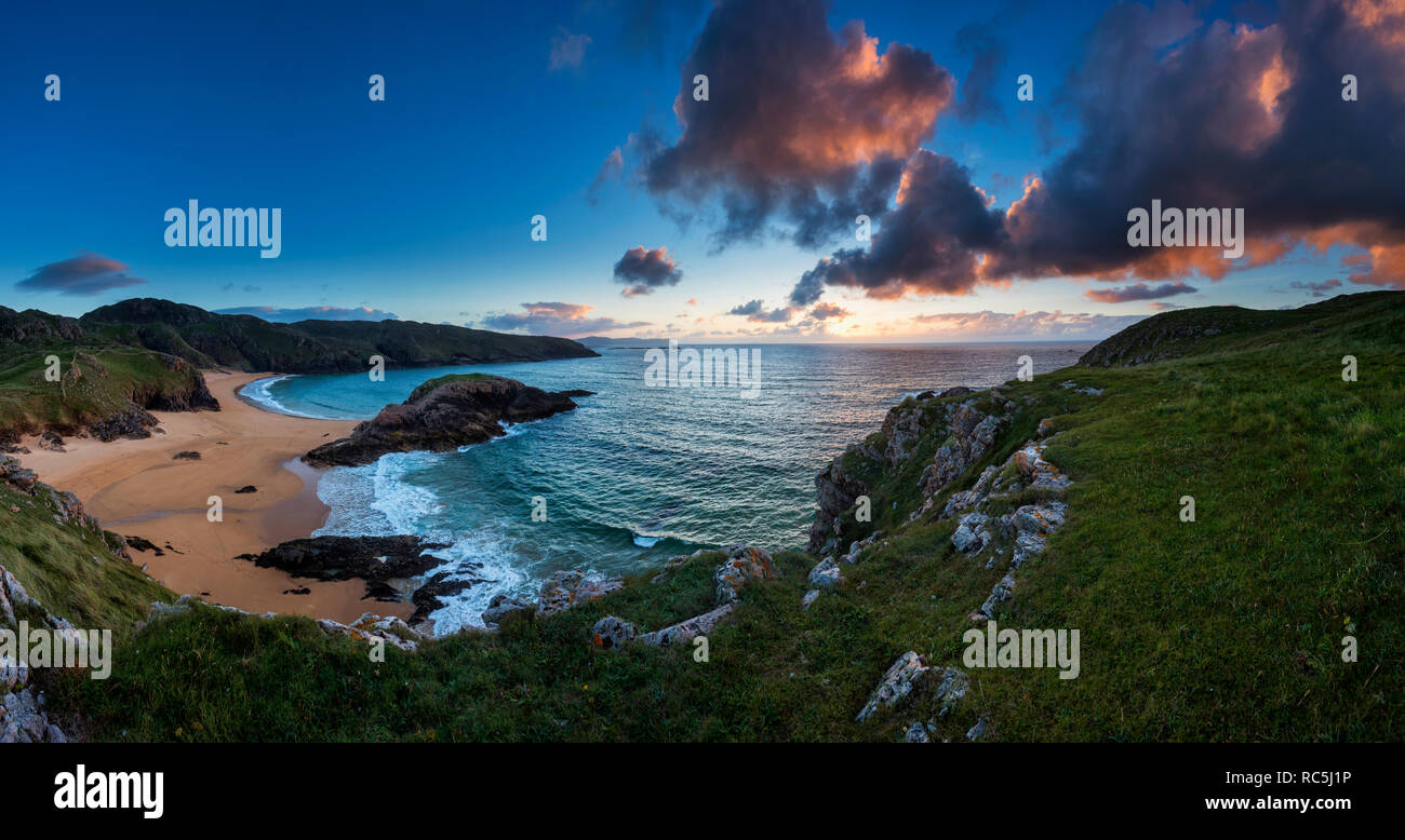 Sunset at the Murder Hole Beach Rosguill, Donegal, Ireland - Stock Image