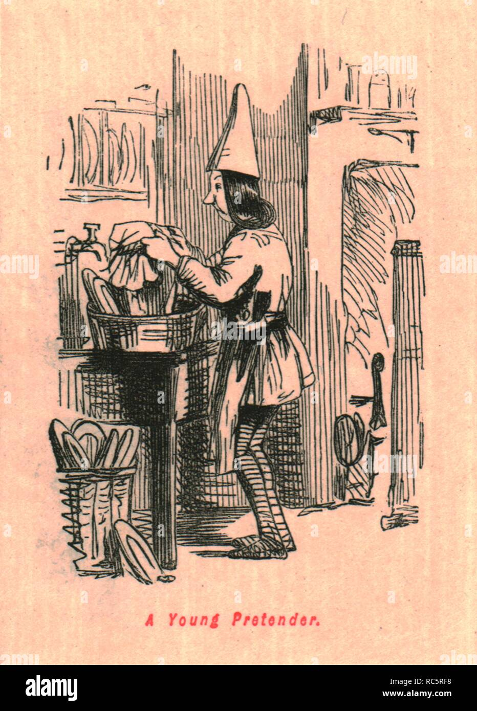 "'A Young Pretender', 1897. Youth in a pointed hat washing up, possibly meant to represent Perkin Warbeck. From ""The Comic History of England"" by Gilbert Abbott A Beckett, with satirical illustrations by John Leech. [Bradbury, Agnew & Co, London, 1897] - Stock Image"