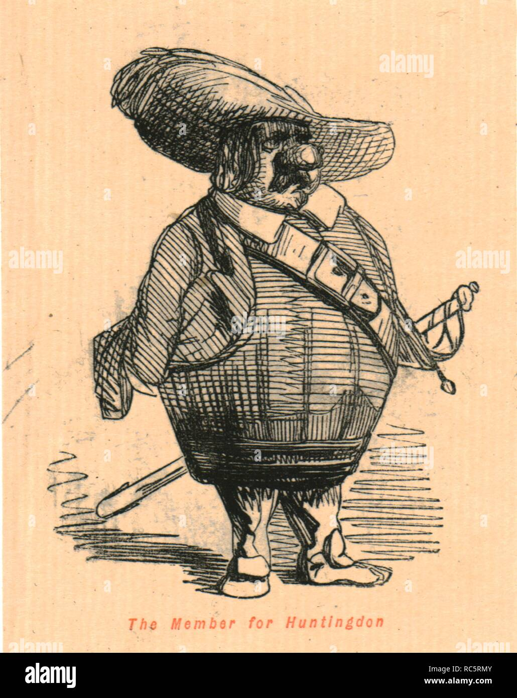 """'The Member for Huntingdon', 1897. Caricature of Oliver Cromwell (1599-1658) who was elected Member of Parliament for Huntingdon in Cambridgeshire in 1628. He is depicted in the shape of a barrel, with a bulbous nose. From """"The Comic History of England"""" by Gilbert Abbott A Beckett, with satirical illustrations by John Leech. [Bradbury, Agnew & Co, London, 1897] - Stock Image"""