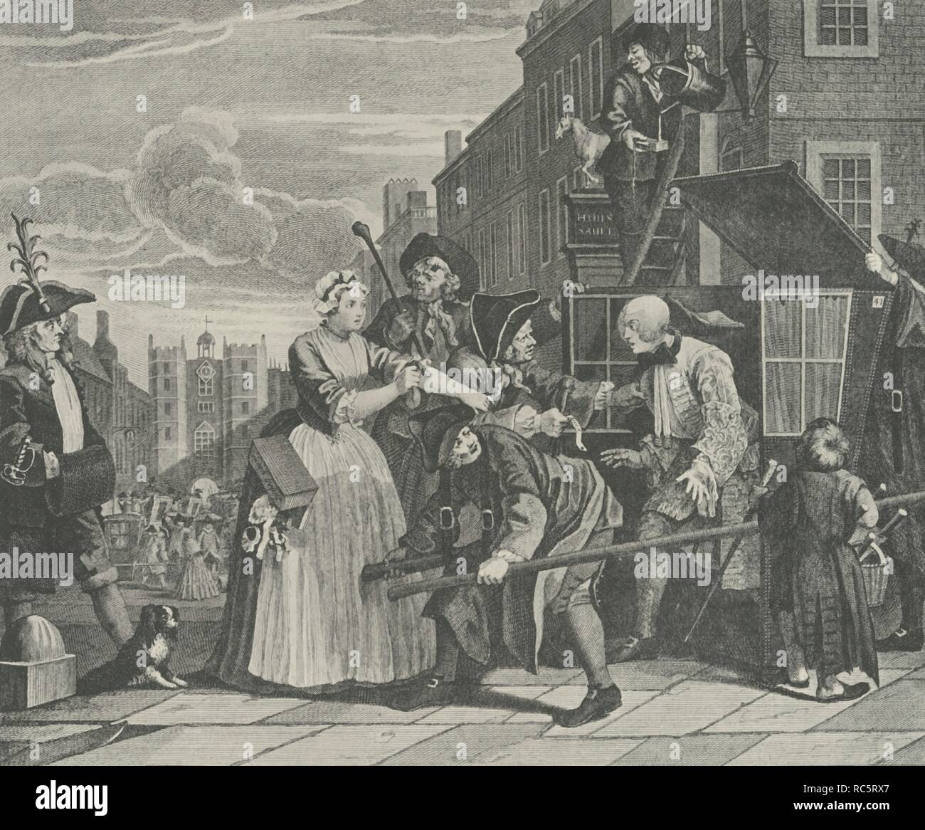 """'St. James's Street', 18th century, (1925). Engraving after Plate 4 of William Hogarth's 'A Rake's Progress' of 1735, 'Arrested for Debt'. The rake, Tom Rakewell, is stopped as he alights from his sedan chair. On the left is a Bow Street officer. The scene is St James's Street, looking towards St James's Palace from the King Street junction in London. From """"London in the Eighteenth Century"""", by Sir Walter Besant. [A. & C. Black, Ltd., London, 1925] - Stock Image"""
