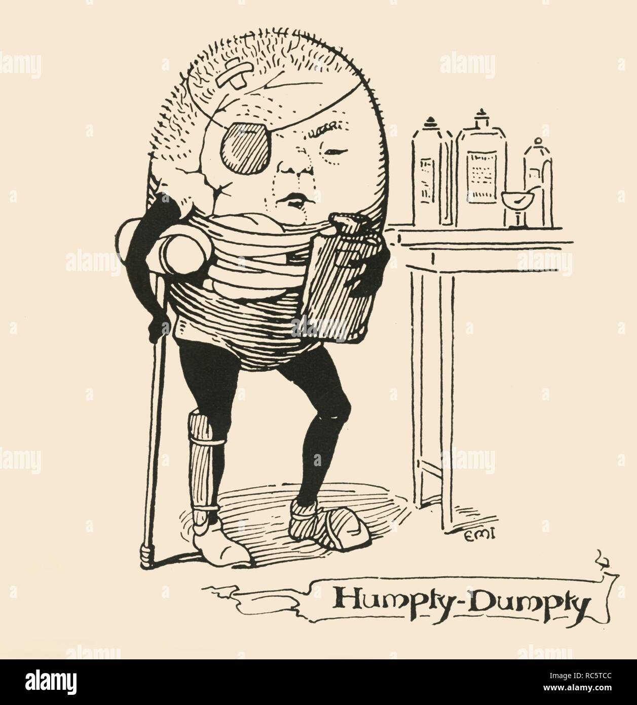 "'Humpty-Dumpty', 1928. Nursery-rhyme character with crutch, eye-patch and hot water bottle. Illustration originally published in a children's annual, [SW Partridge & Co]. From ""The Bookman - Special Christmas Number 1928"". [Hodder & Stoughton Ltd, London, 1928] - Stock Image"