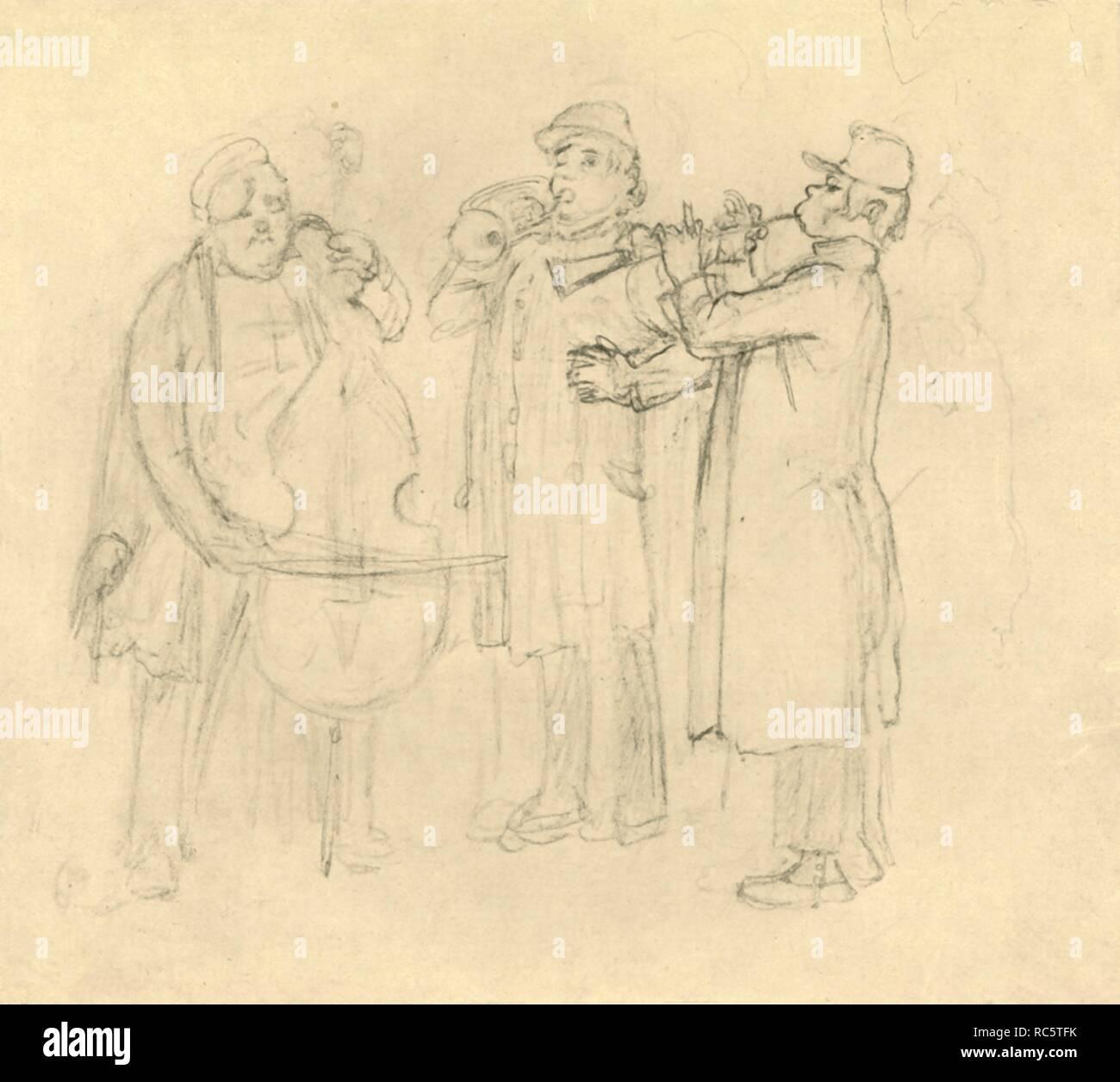 """'Bettelmusikanten', mid-late 19th century, (c1924). Buskers. From """"Die gute alte Zeit: Zeichnungen von Karl Spitzweg"""", (The Good Old Days: drawings by Karl Spitzweg). [Benjamin Harz, Berlin-Vienna, c1924] - Stock Image"""