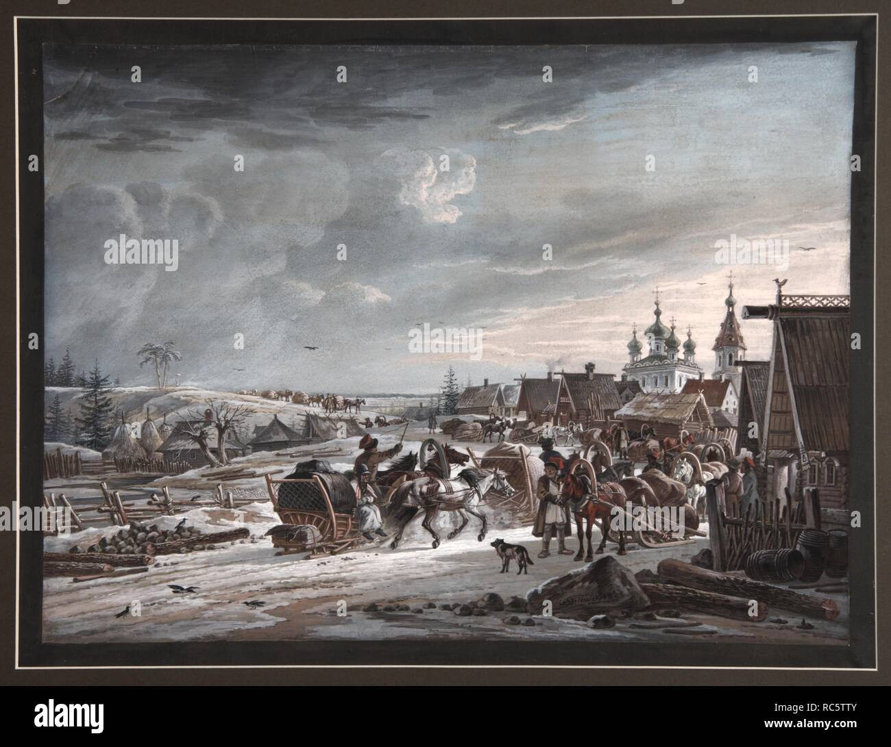 Winter. Museum: PRIVATE COLLECTION. Author: Orlowski (Orlovsky), Alexander Osipovich. Stock Photo