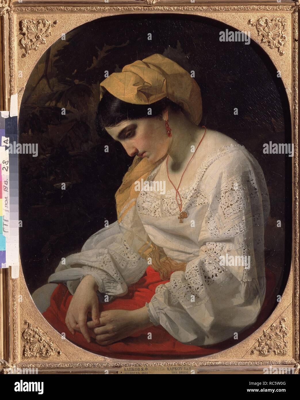 A Bride. Museum: State Tretyakov Gallery, Moscow. Author: Kapkov, Yakov Fyodorovich. Stock Photo