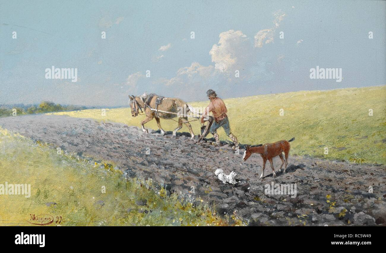 Ploughing the Field. Museum: PRIVATE COLLECTION. Author: Karasin, Nikolai Nikolayevich. - Stock Image