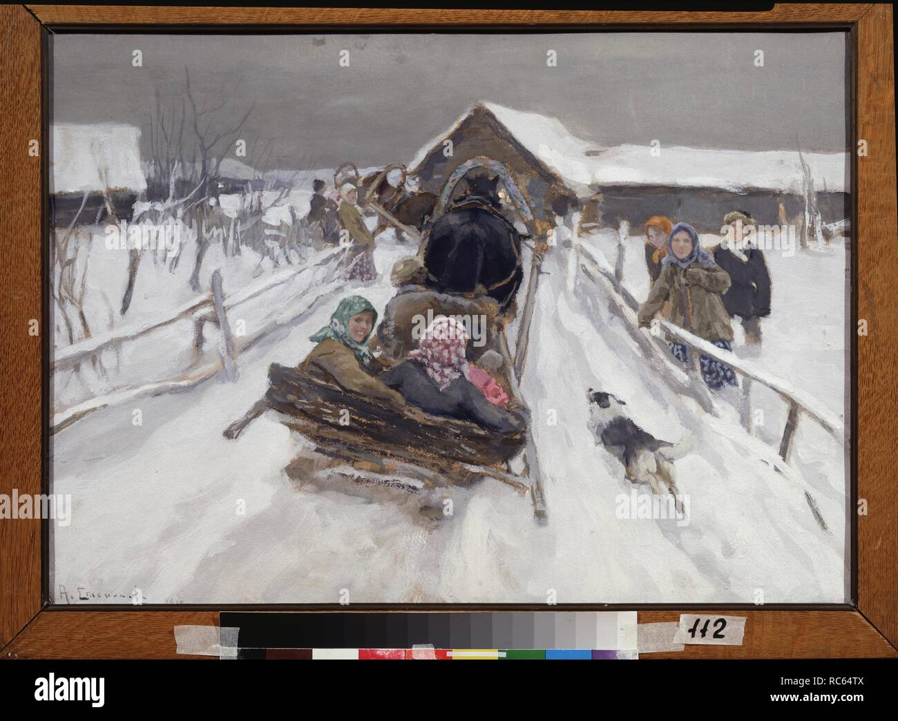 Driving during the shrove-tide. Museum: State Art Museum, Stavropol. Author: Stepanov, Alexei Stepanovich. Stock Photo