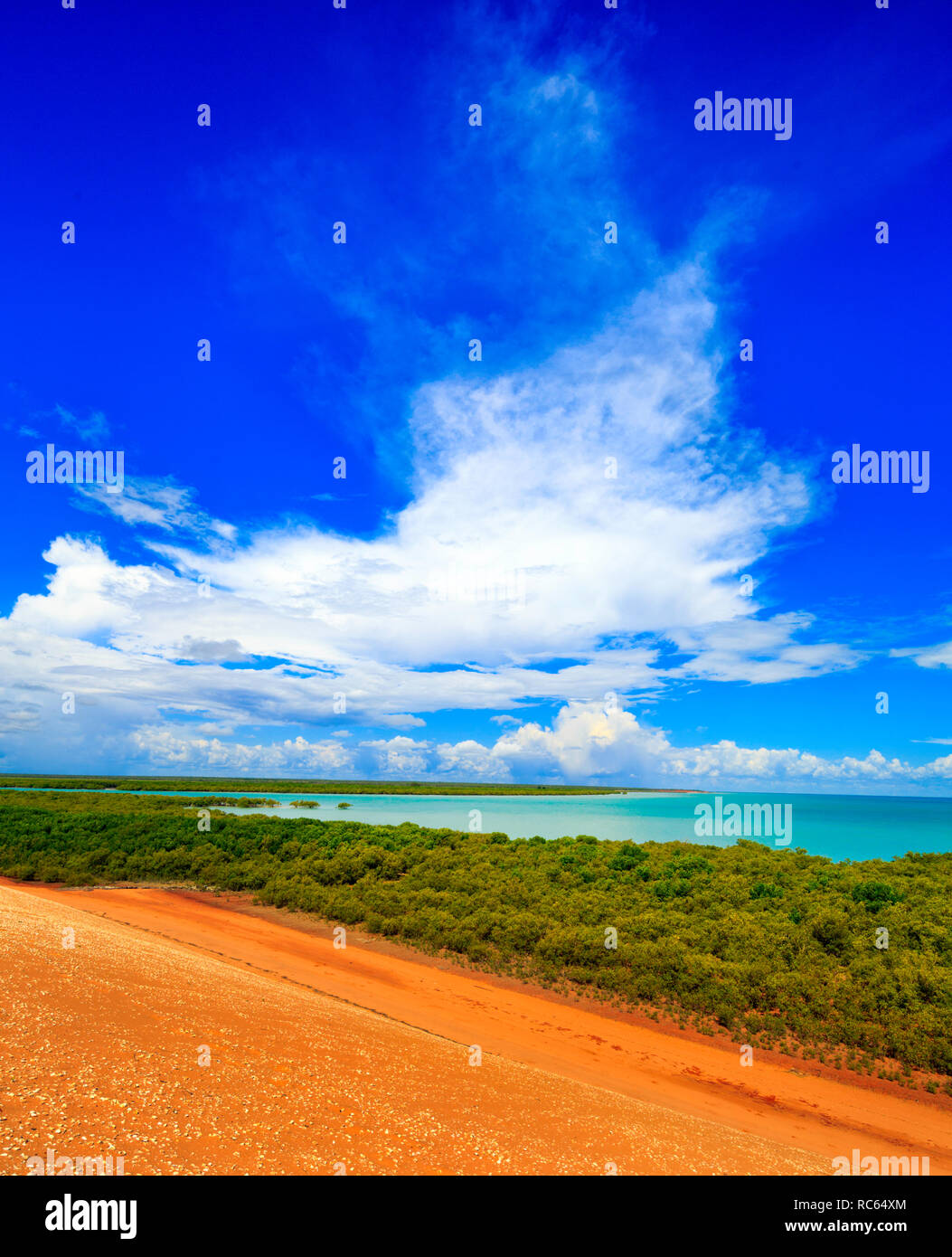 Storm clouds forming over the mangroves of Roebuck Bay. Broome, Western Australia - Stock Image