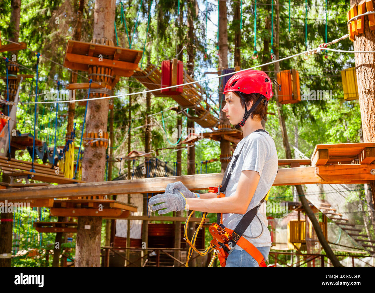 Teenager boy wearing safety harness with self belay system entering ropes course in outdoor treetop adventure park - Stock Image