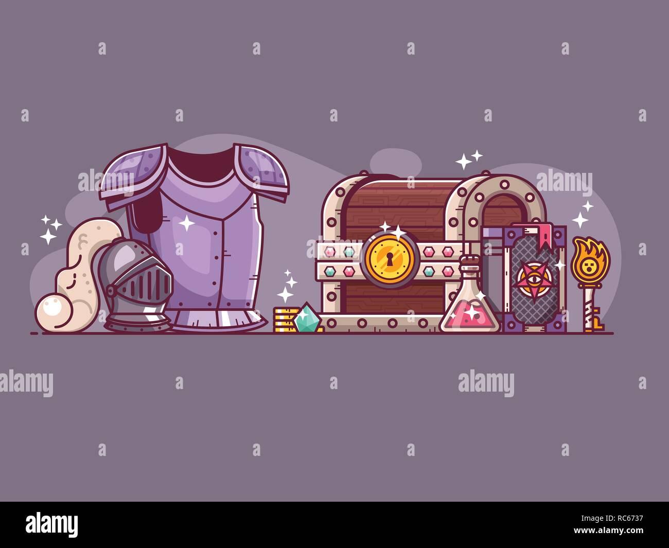 RPG Game Adventure Hero Loot - Stock Image
