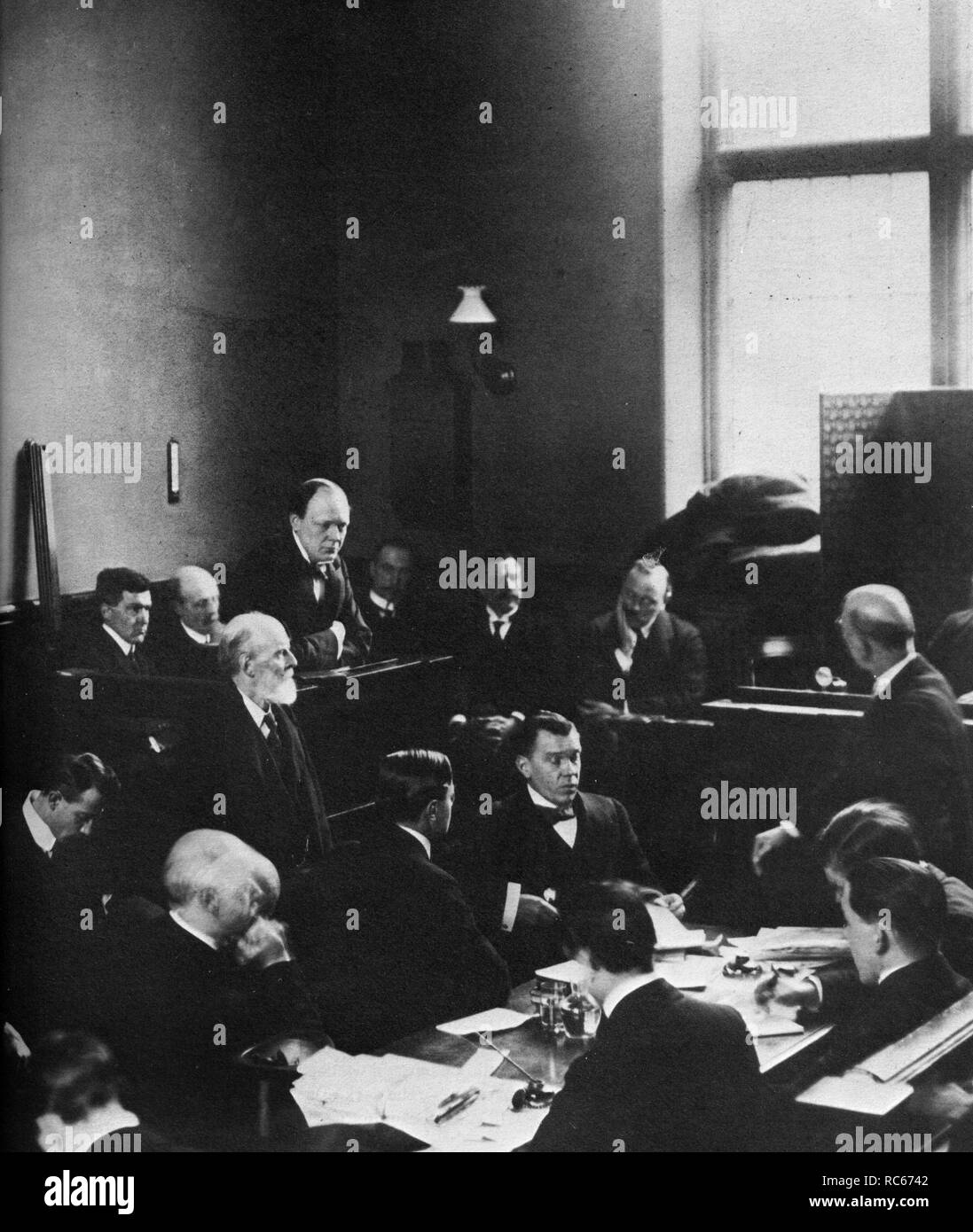 Winston Churchill at the 'Siege Of Sidney Street' inquest  18th January 1911 - Stock Image