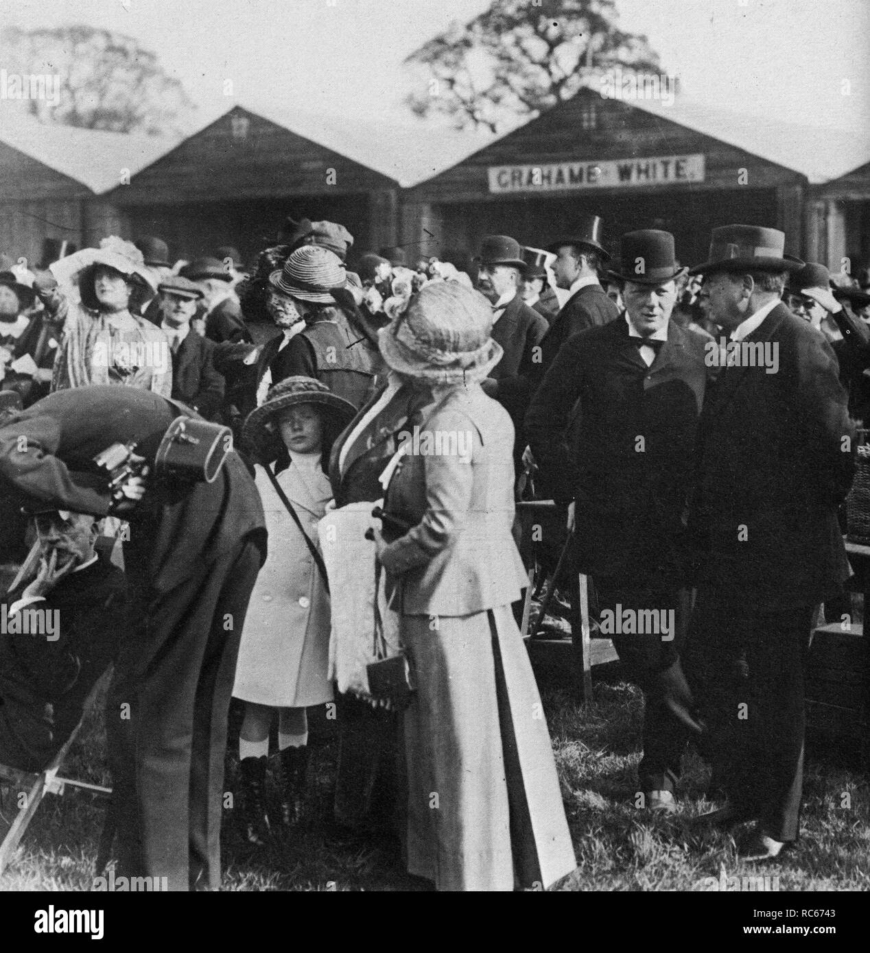 Winston Churchill convering with Lord Northcliffe at the Hendon Aviation Meeting, 12th May 1911 - Stock Image