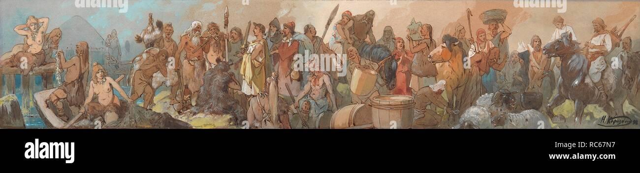 The History of Trade. Museum: PRIVATE COLLECTION. Author: Karasin, Nikolai Nikolayevich. - Stock Image