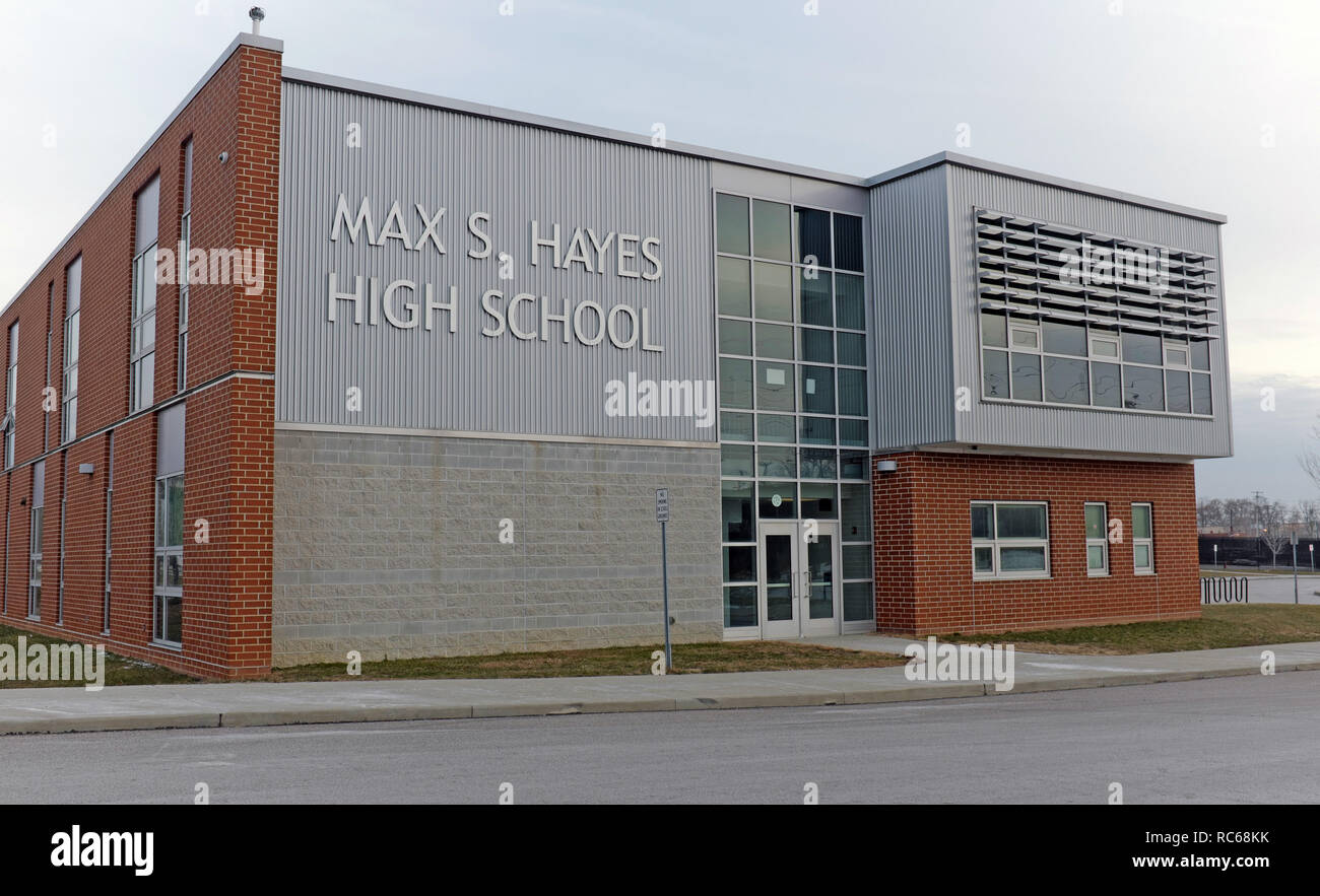 Max S. Hayes High School, located on West 65th Street in Cleveland, Ohio, USA is public high school focused on career training. - Stock Image