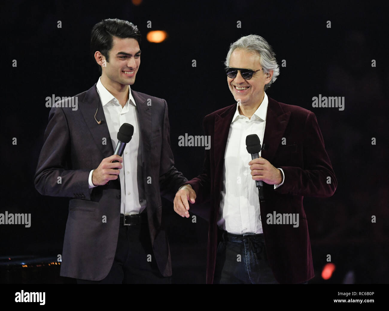 Berlin, Germany. 12th Jan, 2019. Schlagerchampions - The big party of the best, live show in the first. Andrea and Matteo Bocelli on stage. Credit: Jens Kalaene/dpa-Zentralbild/ZB/dpa/Alamy Live News - Stock Image