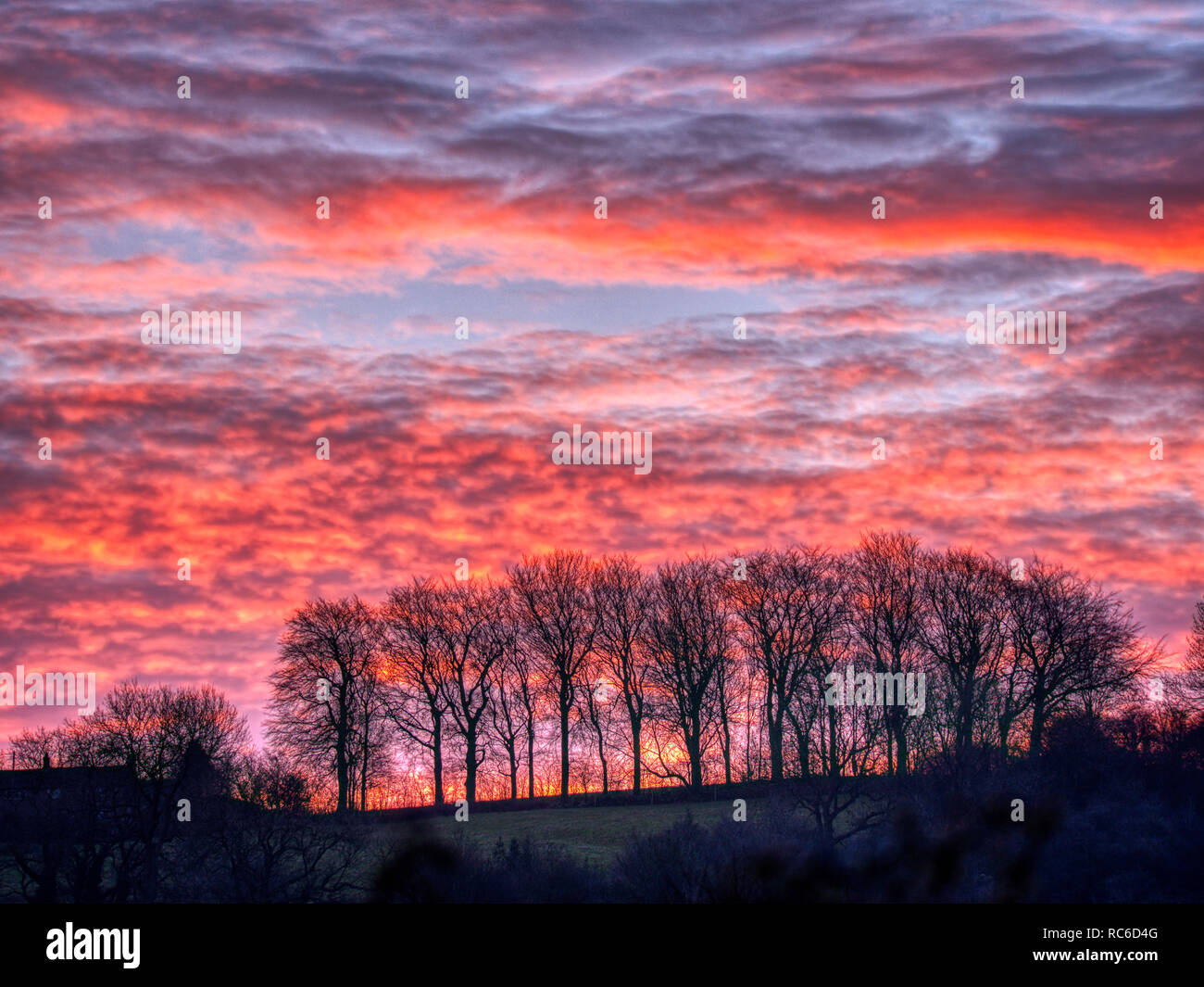 Wirksworth, Derbyshire Dales. 14th Jan 2019. UK Weather: spectacular sunrise from Hatfield Farm, Wirksworth in the Derbyshire Dales, Peak District National Park Credit: Doug Blane/Alamy Live News - Stock Image