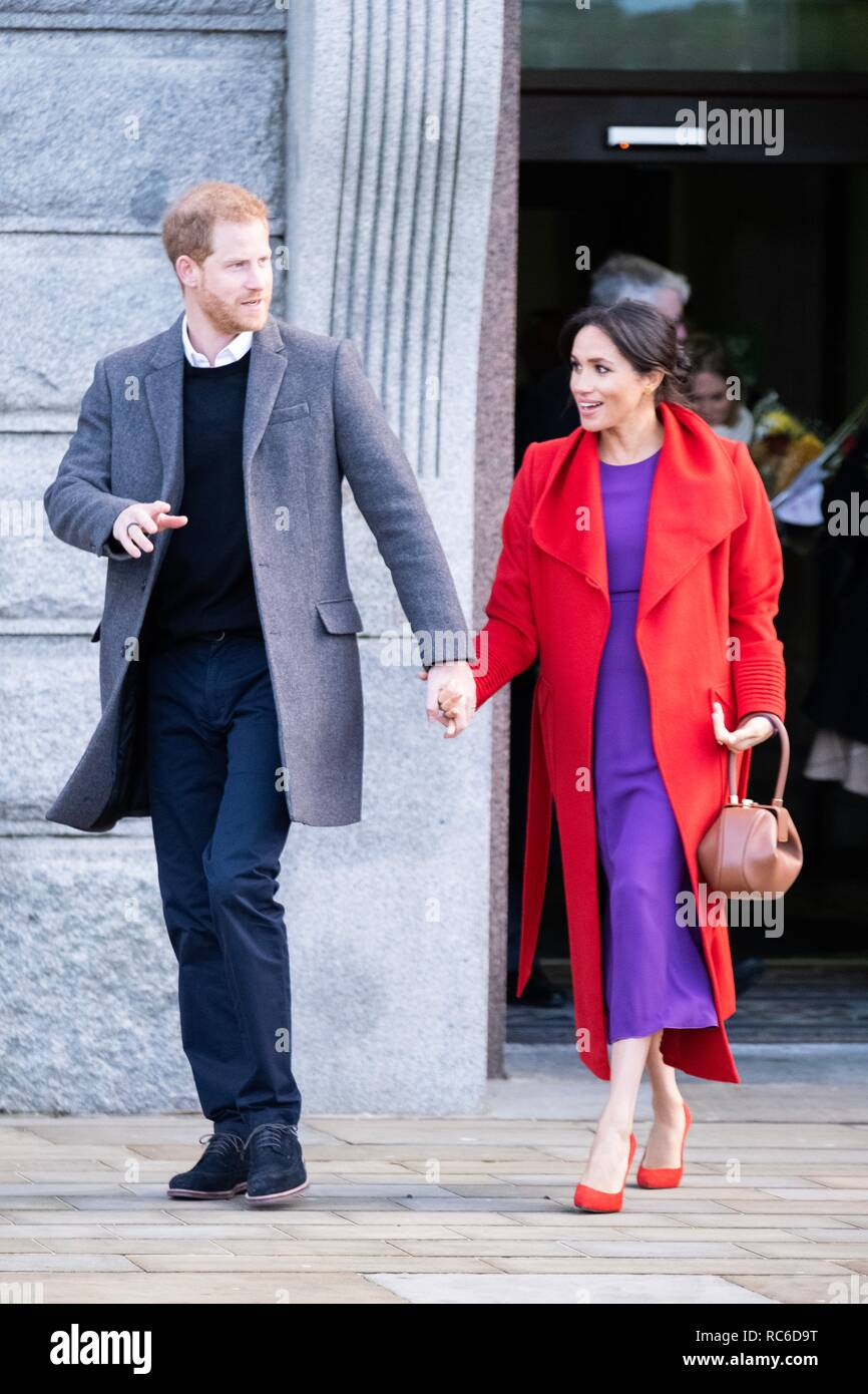 Birkenhead, Wirral, UK. 14th Jan 2019. Prince Harry and Meghan Markle have visited Birkenhead Town Hall as part of their visit to the Wirral on Monday, January 14, 2019, and their first Royal engagement of 2019. Credit: Christopher Middleton/Alamy Live News - Stock Image