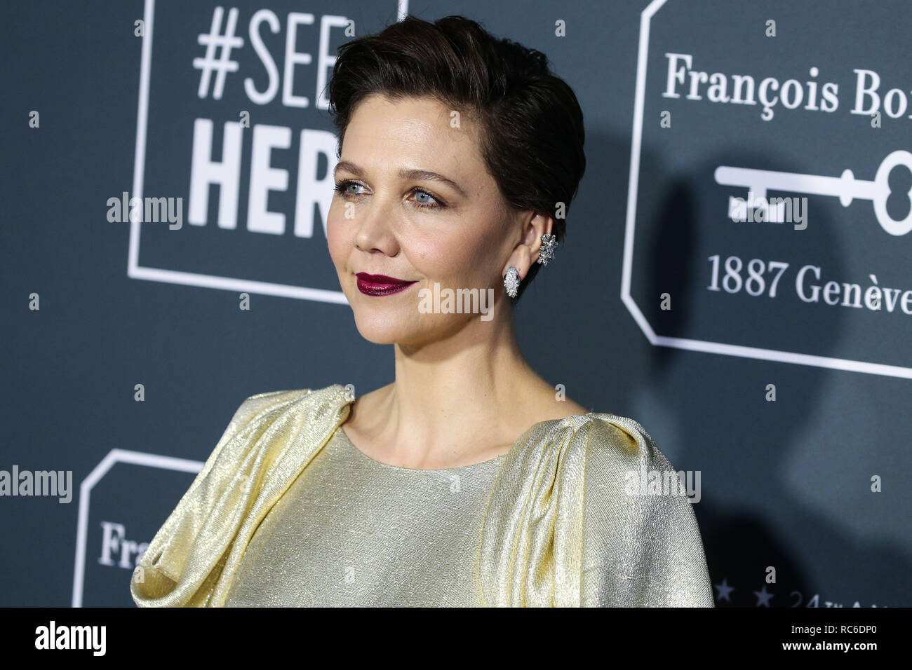 Santa Monica United States 13th Jan 2019 Actress Maggie Gyllenhaal Wearing A Prada Dress Arrives At The 24th Annual Critics Choice Awards Held At The Barker Hangar On January 13 2019 In