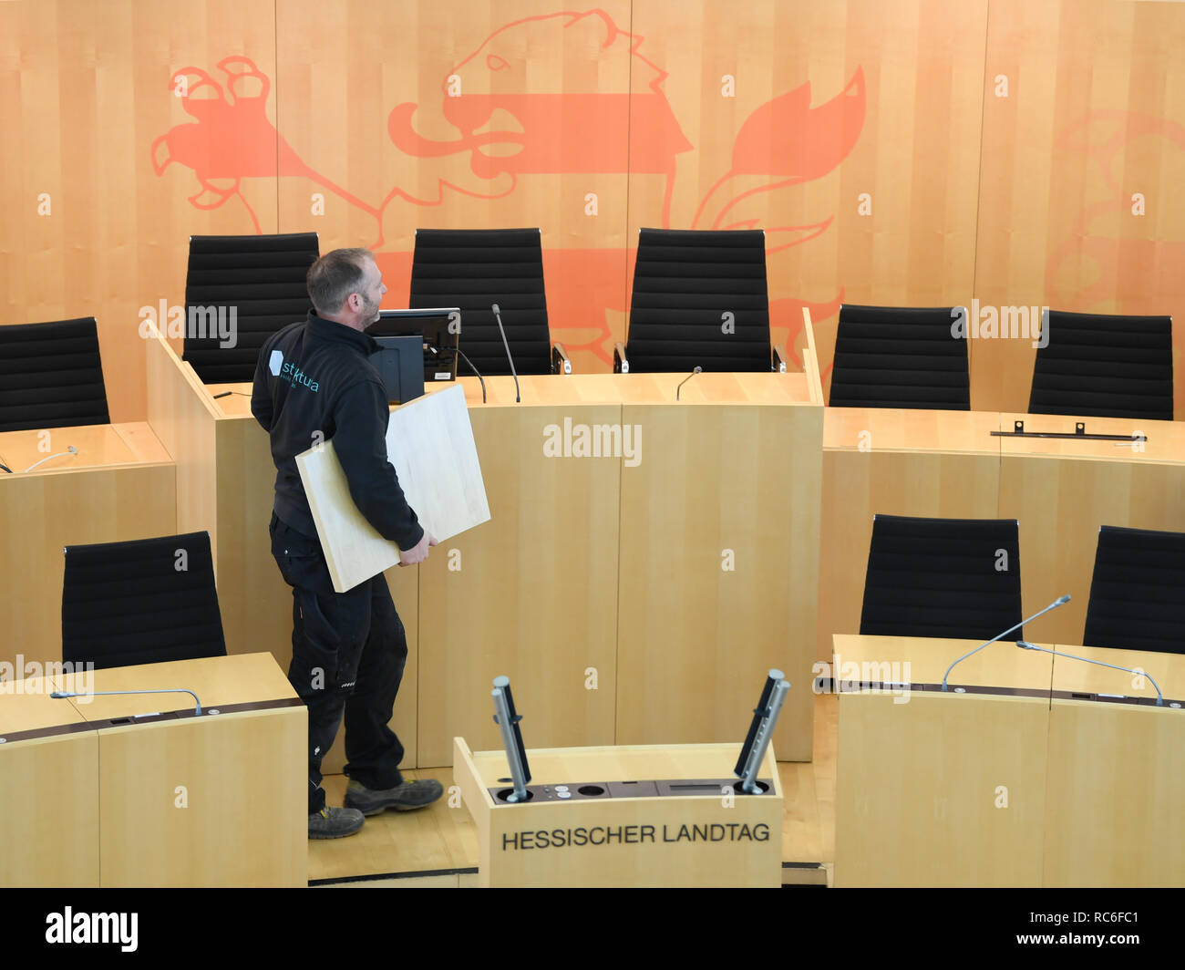 Wiesbaden Germany 14th Jan 2019 A Craftsman Is Busy With