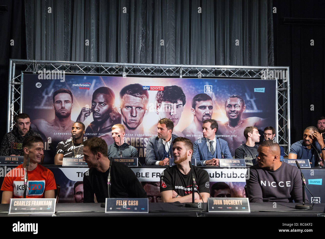 London, UK. 14th January, 2019. Surrey Light Heavyweight Jake Ball (rear left) appears at the press conference for a Matchroom Boxing card at the 02 on 2nd February where he will fight Craig Richards in a 10 X 3 mins Light-Heavyweight contest. Credit: Mark Kerrison/Alamy Live News - Stock Image