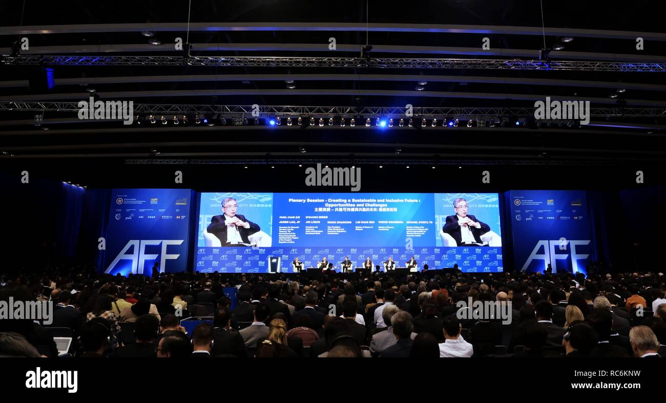 """Hong Kong. 14th Jan, 2019. The 12th Asian Financial Forum (AFF) opens in Hong Kong, south China, Jan. 14, 2019, as over 3,000 policymakers, financial and business leaders and investors from over 40 countries and regions gather to discuss economic opportunities and challenges as well as financial innovation and technology. The forum was held under the theme """"Creating a Sustainable and Inclusive Future."""" Credit: Wang Shen/Xinhua/Alamy Live News Stock Photo"""