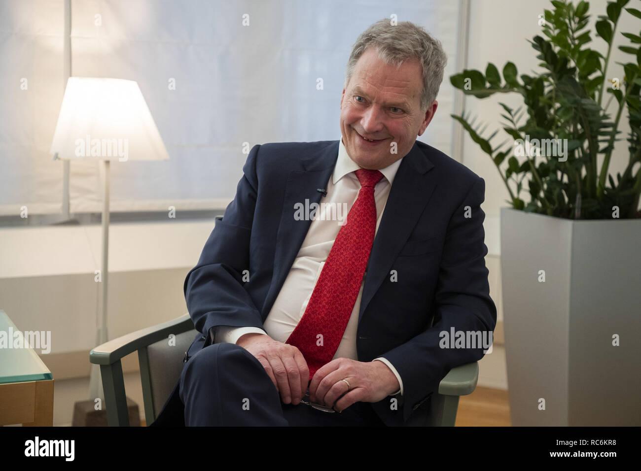 Helsinki, Finland. 11th Jan, 2019. Finnish President Sauli Niinisto speaks during an interview with Xinhua in Helsinki, Finland, Jan. 11, 2019. Credit: Matti Matikainen/Xinhua/Alamy Live News - Stock Image