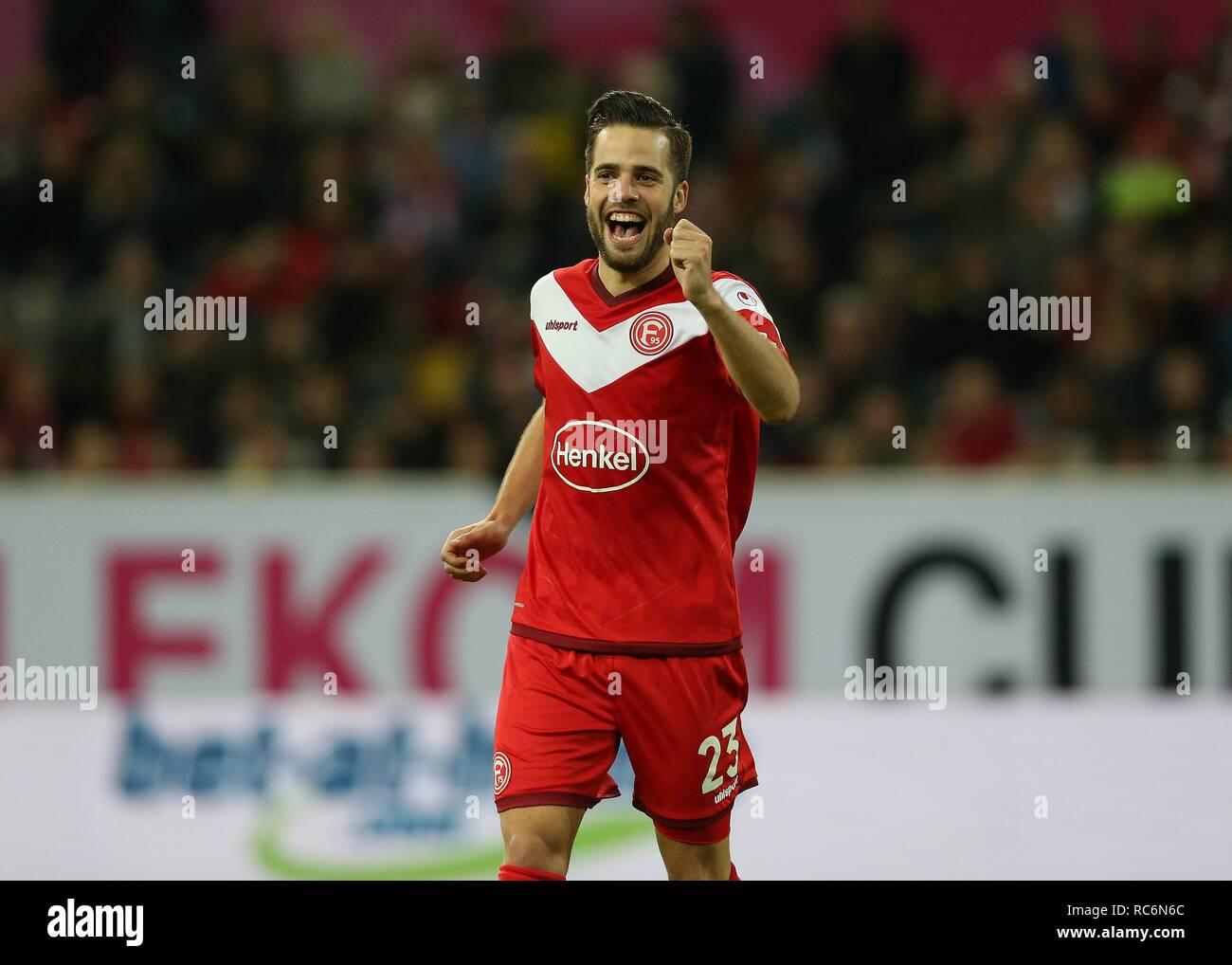firo: 13.01.2019, football, 1.Bundesliga, season 2018/2019, Telekom-Cup 2019, Fortuna Dusseldorf, jubilation Niko GIEssELMANN   usage worldwide - Stock Image