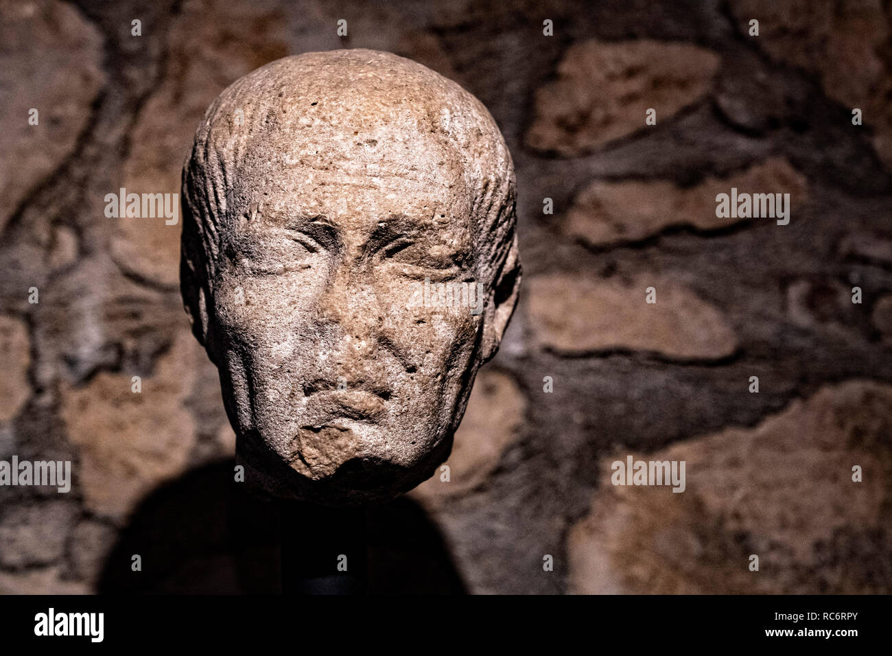 Italy Basilicata Venosa ducal castle of the Balzo National archeologic museum,male portrait, funerary statue  I sec.aC - Stock Image
