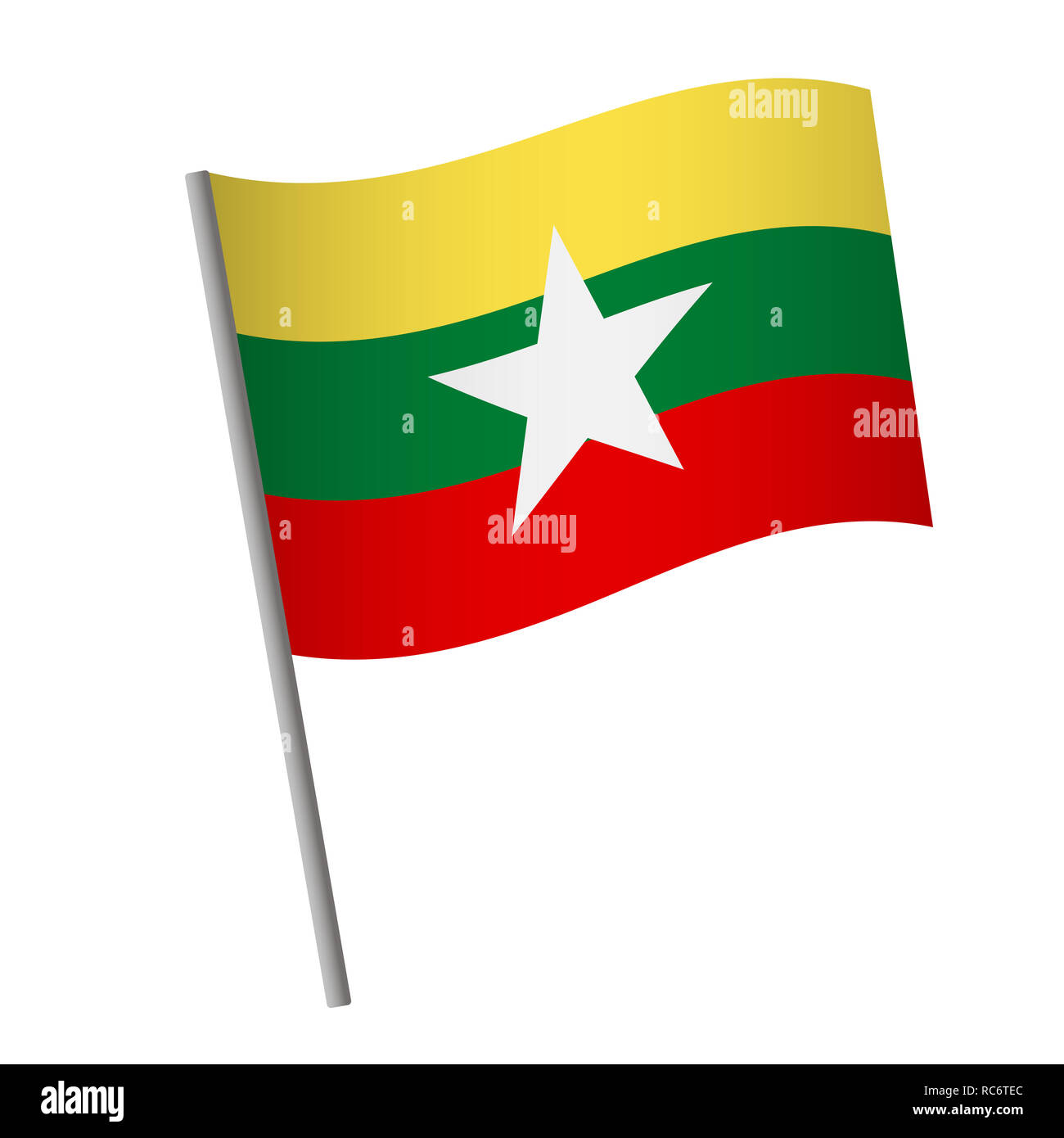 Myanmar flag icon. National flag of Myanmar on a pole  illustration. - Stock Image