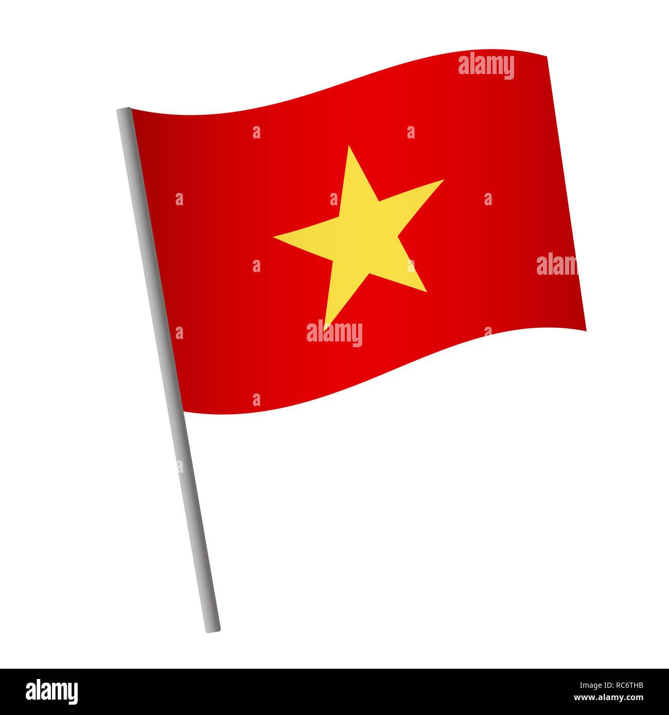Vietnam flag icon  National flag of Vietnam on a pole illustration